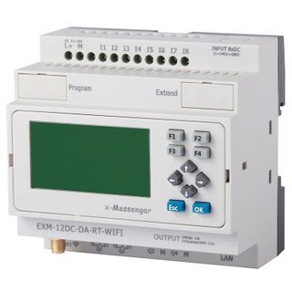 GPRS,SMS,WiFi programmable logic controller for automation control EXM-12DC-DA-RT-WIFI-HMI
