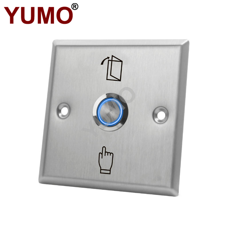 86 Type Stainless Steel Self Reset with Lamp DC12V Access Control Switch Exit Button