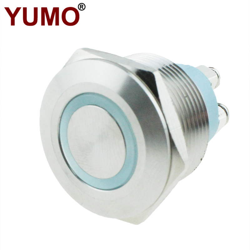 JS22F Flat Head White Ring Lamp Stainless Steel 22mm Metal Push Button