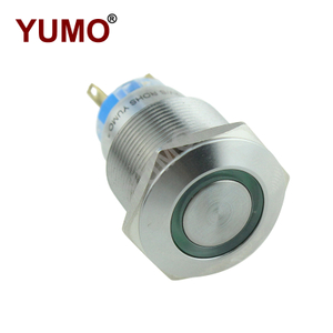 Yumo 22mm Green LED Waterproof Stainless Steel Metal Push Button