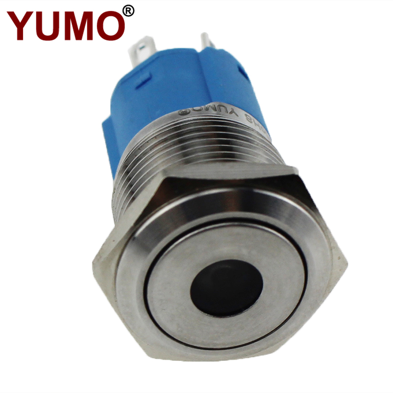 LA16JSF 16mm Diameter 24V Flat Round Stainless Steel Waterproof Led Metal Push Button